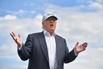 Donald Trump Visits His Golf Course in Aberdeen